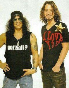Slash (The London, The Guns N' Roses, The Velvet Revolver), and Chris Cornell [R.P] (The Soundgarden). Music Love, Music Is Life, Rock Music, Audioslave Chris Cornell, Say Hello To Heaven, Seattle, Temple Of The Dog, Slash, Rockn Roll