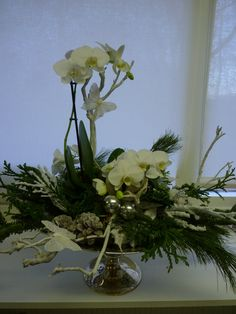 natuurlijk groen en doen: Kerststuk met orchidee