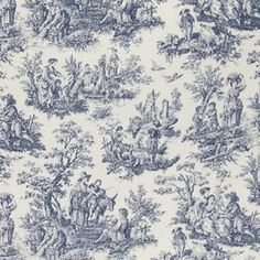 Waverly Rustic Toile Navy Fabric (for throw pillow)