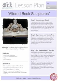 Altered Book Sculptures: Free Lesson Plan Download