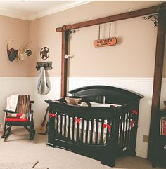 I have a feeling that if Chad could he would do this our little man's room. Elegant western cowboy baby nursery decorating ideas and decor for a baby boy Cowboy Baby Nurseries, Baby Nursery Themes, Baby Boy Rooms, Baby Room Decor, Baby Bedroom, Nursery Ideas, Country Boy Nurseries, Country Baby Rooms, Nurseries Baby
