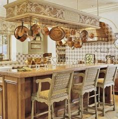 Tuscan Kitchen Decor on All About Kitchens Tuscan Style Decorating For The Kitchen Copper Kitchen, Kitchen Dining, Kitchen Decor, Copper Pots, Kitchen Island, Nice Kitchen, Country Kitchen, Neutral Kitchen, Island Bar
