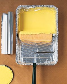 Aluminum foil covers the paint pan..toss after painting... So smart. So simple. So, why did I never think of this?