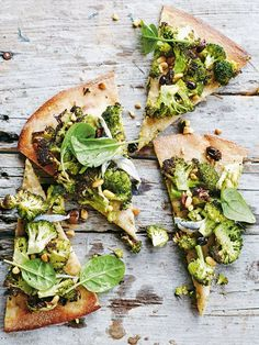 broccoli, olive and pine nut whole-wheat pizza from donna hay