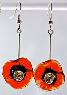xmas jewelry sale earrings hand blown glass flower and by paulbead, $12.50