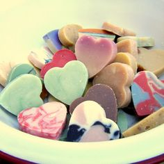 DIY Heart Shaped Soaps Yes, please! And guess who just bought two molds at Target AND has scents?
