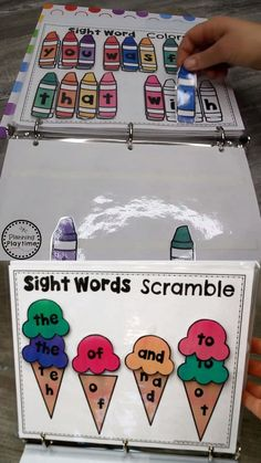 Kindergarten Sight Word Activity Binder- sight word pdf worksheets for kids. Sight word scramble, match, play! Learning activity to print. Interactive learning strategies to teach kids words.