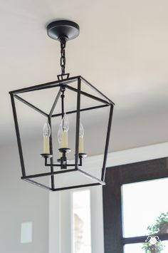 Updated Foyer Lighting: Before and After the Darlana Lantern – Kelley Nan - All For Decoration Entry Chandelier, Entry Lighting, Kitchen Lighting, Island Lighting, Lighting Ideas, Bathroom Lighting, Entryway Light Fixtures, Bathroom Light Fixtures, Lantern Light Fixture