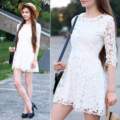 Udobuy White Lace Dress, Ecugo Black Bag, Embis Black Leather Heels, Tally Weijl Straw Hat, Romwe Beige Bracelet
