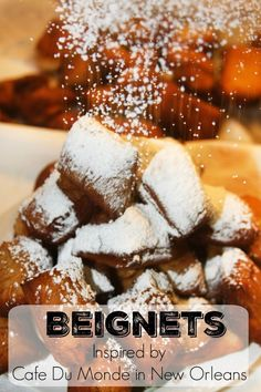 Cafe Du Monde New Orleans Beignets Yummy Treats, Delicious Desserts, Sweet Treats, Dessert Recipes, Donut Recipes, Dessert Ideas, Breakfast Recipes, Beignets, Churros