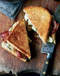 Grilled Cheese-and-Bacon Sandwiches with Cheese Curds Recipe on Food & Wine