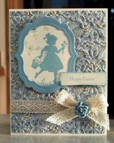 """♥♥♥ Vintage style Easter Card from Stampin' Up! called """"Easter Blossoms""""  Gorgeous use of the textures (embossing folder) and lace.  Blue on white = Perfection!"""