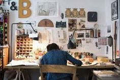 I like the lamps ___ Where the magic happens: children's illustrators open up their studios - in pictures (shown: Beatrice Alemagna in her studio) Dream Studio, Home Studio, Studio Spaces, Studio Studio, Workshop Studio, Studio Design, Studio Ideas, Design Design, Artist Workspace