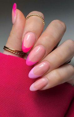 Acrylic Nails Almond Shape, Almond Nails Pink, Oval Acrylic Nails, French Tip Acrylic Nails, Long Square Acrylic Nails, Pink Tip Nails, Pink French Manicure, Summer Acrylic Nails, Yellow Nails