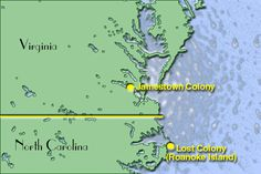Location of Lost Colony and Jamestown totallyhistory.com
