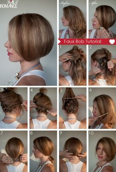 how to create a faux bob...this would be cool if I could really get it to work.  Then I would never want to cut my hair!  But seems like a lot of work...