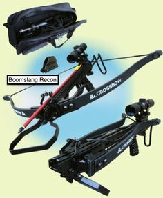 Venom Boomslang Recon Crossbow, Draw Weight: 120 lbs Velocity: 220 fps. A totally different crossbow design based on army recon weapons, this is very similar to the old and very popular Delta Storm from Barnett. The folding limbs and retractable skeleton stock make this the ideal portable crossbow. Powerful and compact this crossbow can also be used one handed as a pistol. If you need something powerful, compact and deadly accurate the Boomslang is the crossbow for you.