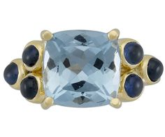 18K Classic Cushion Ring with Faceted Aquamarine and Blue Sapphire - Temple St. Clair