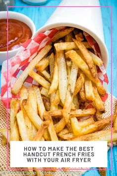 Make the BEST guilt-free Fench fries in your Air Fryer! These hand-cut french fries are crispy on the outside and perfectly tender and fluffy inside and are made with just 4 ingredients. #airfryerrecipe #airfryer #easyrecipe #healthyrecipe #healthy #crispy #frenchfries #weightwatchers #sidedish #potatoes #vegetables