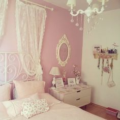 Pastel bedroom NOTE: the curtain rod with lace curtains... this is an easy and must-do treatment.