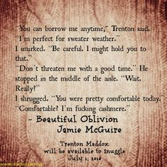 Quote from BEAUTIFUL OBLIVION by @Kenneth Clarke Jamie McGuire