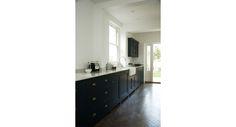 black cabinets dark floor white walls.  Love it
