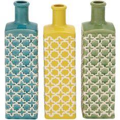 Decmode Ceramic Stripe Vase, Multi Color, Multicolor