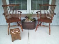 2 Ethan Allen Maple Fiddleback Arm Chairs 210 AllenArm ChairsDining Table