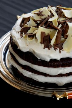 Chocolate cake with spiked whipped cream