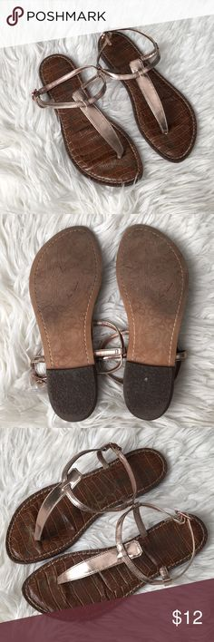 Sam Edelman Gigi Sandals in Rose Gold Gently used with minor wear throughout.  Plenty of life left in them so snag these beauties at a great price! Sam Edelman Shoes Sandals