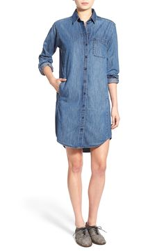 This classic denim shirtdress will look fabulous dressed up with wedges or dressed down with cute kicks. Very versatile.