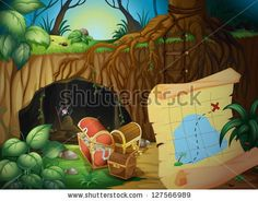 Illustration of a cave, a treasure chest and a map in a beautiful nature - stock photo