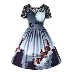 187d0c34749f New vermers Women Retro Dresses Clearance! Women Short Sleeve Christmas  Print Swing Dress Lace Vintage