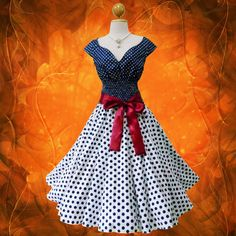 Blue & White Polka Dot 50s Rockabilly Swing Dress from SlamSmileStylist