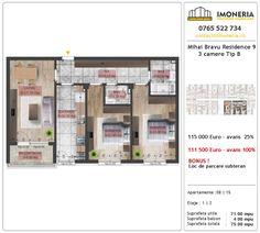 Apartamente de vanzare Mihai Bravu Residence 9 -3 camere tip B Floor Plans, Floor Plan Drawing, House Floor Plans