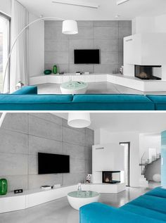 8 TV Wall Design Ideas For Your Living Room // The concrete wall behind the TV in this living room let the TV stand out and become the centre of attention. Living Room Paint, Living Room Colors, Living Room Interior, Living Room Designs, Living Room Decor, Tv Wall Design, Design Case, House Design, White Shelving Unit