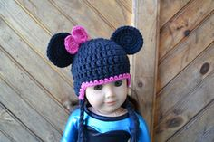 Minnie Mouse crocheted beanie for American Girl Dolls