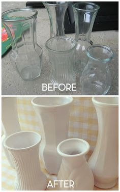 Making milk glass with florist vases and spray paint.