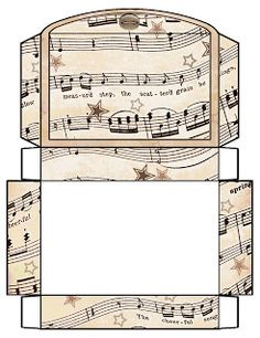 Free printable boxes - vintage music sheets