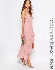 True Decadence Tall Wrap Cami Dress With Ruffles