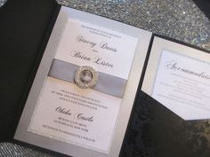 elegant wedding invitations with crystals | Elegant Silver and Black Wedding Invitation, Crystal Slider, Sparkle ...