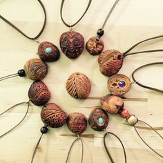 Avocado stone pendant. Natural jewellery. Carved by by AnnaArk
