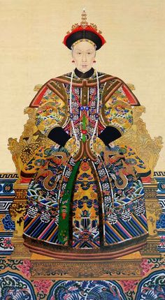 The official imperial portrait of Empress Dowager Cixi (Tzu Hsi) 慈禧太后 (29 Nov 1835 – 15 Nov 1908), of the Manchu Yehenara clan, one of the three wives of the Xianfeng emperor.  Cixi was a powerful and charismatic woman who effectively controlled the Chinese government for 47 years, from 1861 to her death in 1908.  This official portrait was painted in the latter years of her life.
