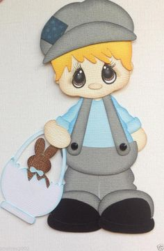 PREMADE EASTER TUXEDO BOY 2 DRESSED PAPER PIECING SUMMER BY MY TEAR BEARS KIRA