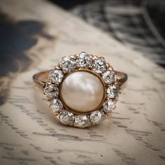 Antique Vintage Pearl Diamond Ring
