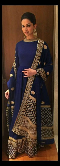 Deepika Padukone in Blue High Neck Anarkali Dress at Telegraph Dinner in Kolkata - Indian Celebrities News - Fashion Bridal Anarkali Suits, Anarkali Dress, Lehenga Choli, Sabyasachi Suits, Bollywood Anarkali Suits, Bridal Lehenga, Bollywood Hair, Wedding Salwar Suits, Movies Bollywood