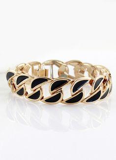 Black Gold Hollow Chain Bracelet - Sheinside.com