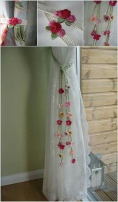 Crochet curtain holder