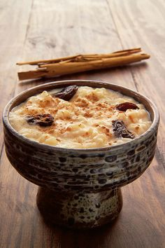 Arroz con leche - Rice pudding with milk and cinnamon •  peruvian dessert.