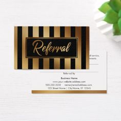 Gold and Black Bold Vertical Stripe Referral Cards - faux gifts style sample design cyo